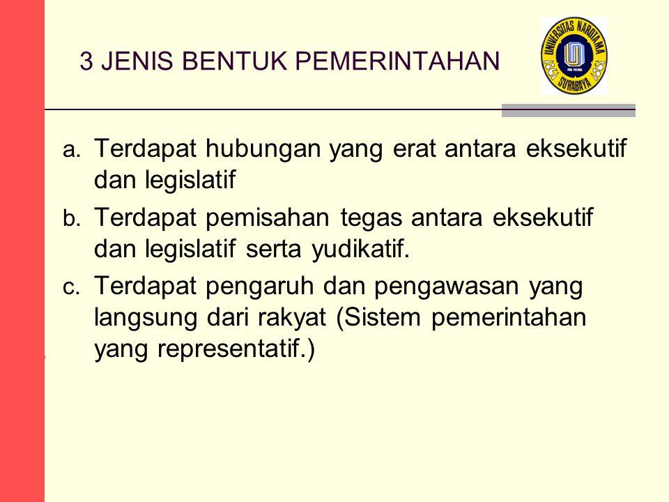 3 JENIS BENTUK PEMERINTAHAN a. Terdapat hubungan yang erat antara eksekutif dan legislatif b.