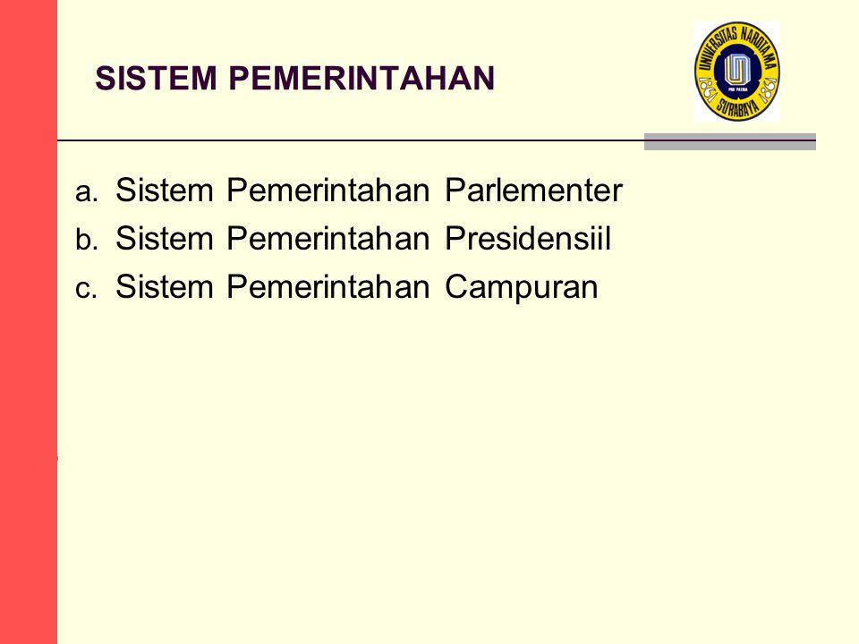 SISTEM PEMERINTAHAN a. Sistem Pemerintahan Parlementer b.