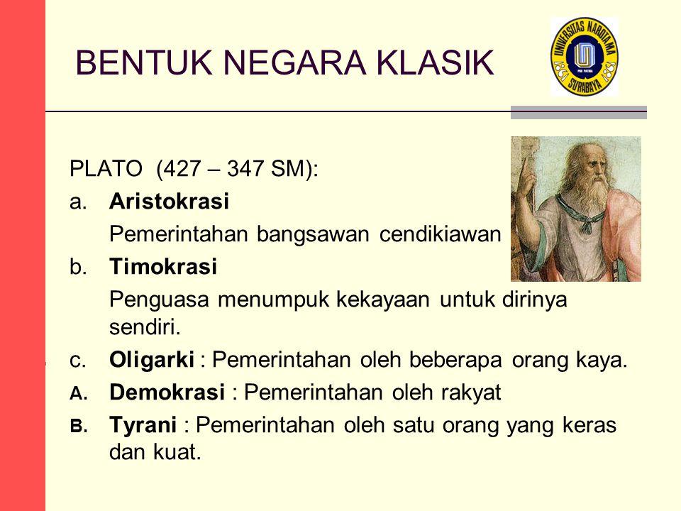 BENTUK NEGARA KLASIK PLATO (427 – 347 SM): a.Aristokrasi Pemerintahan bangsawan cendikiawan berkeadilan b.Timokrasi Penguasa menumpuk kekayaan untuk dirinya sendiri.