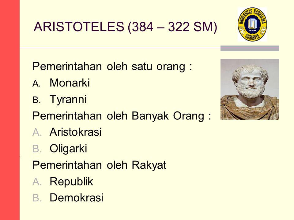 ARISTOTELES (384 – 322 SM) Pemerintahan oleh satu orang : A.