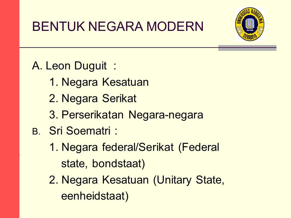 BENTUK NEGARA MODERN A. Leon Duguit : 1. Negara Kesatuan 2.