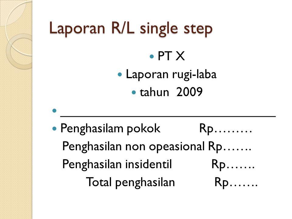 Laporan R/L single step PT X Laporan rugi-laba tahun 2009 ______________________________ Penghasilam pokok Rp……… Penghasilan non opeasional Rp……. Peng