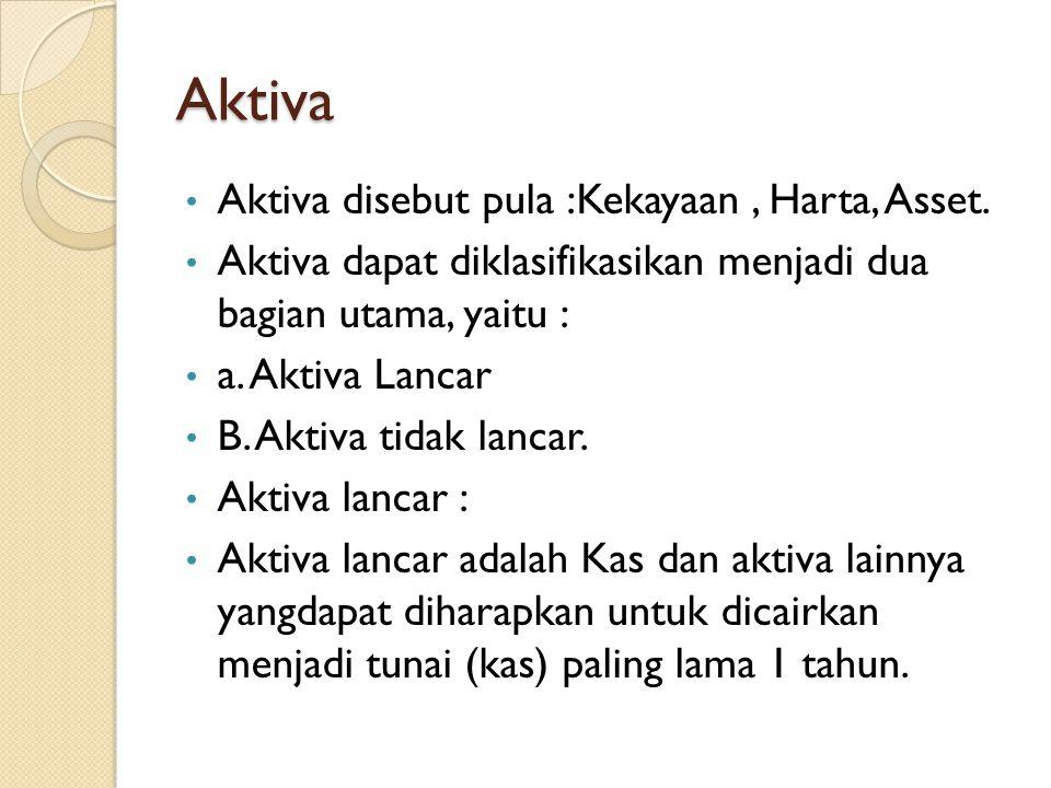 Aktiva Lancar Aktiva lancar meliputi : 1.Kas, Bank 1.