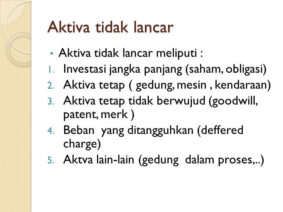 Aktiva tidak lancar Aktiva tidak lancar meliputi : 1. Investasi jangka panjang (saham, obligasi) 2. Aktiva tetap ( gedung, mesin, kendaraan) 3. Aktiva