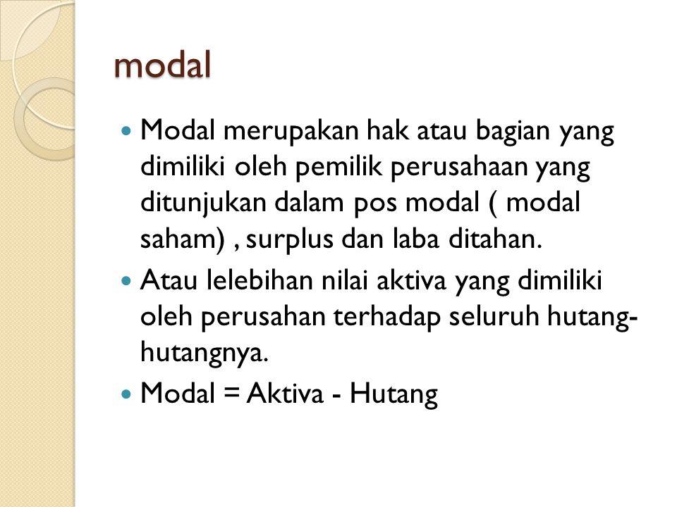 modal Modal merupakan hak atau bagian yang dimiliki oleh pemilik perusahaan yang ditunjukan dalam pos modal ( modal saham), surplus dan laba ditahan.