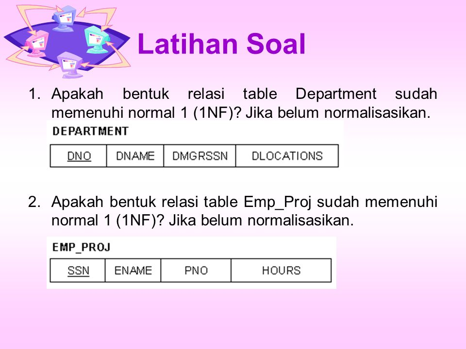 Latihan Soal 1.Apakah bentuk relasi table Department sudah memenuhi normal 1 (1NF)? Jika belum normalisasikan. 2.Apakah bentuk relasi table Emp_Proj s