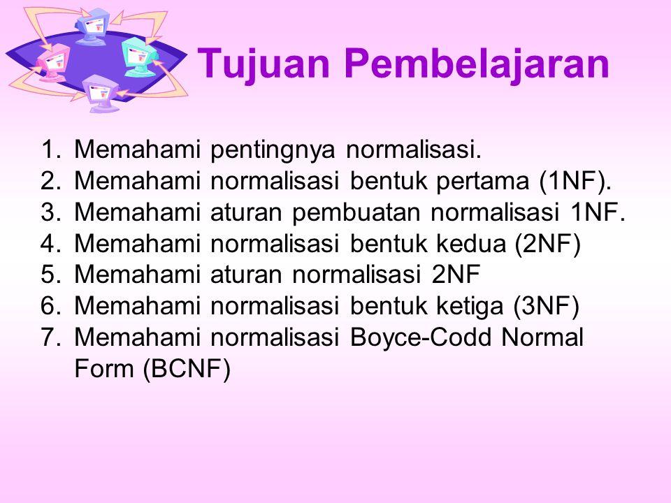 Tujuan Pembelajaran 1.Memahami pentingnya normalisasi. 2.Memahami normalisasi bentuk pertama (1NF). 3.Memahami aturan pembuatan normalisasi 1NF. 4.Mem