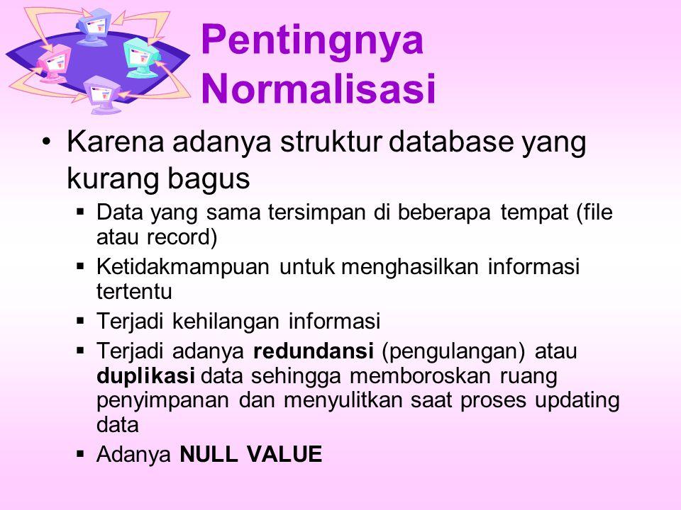 Pentingnya Normalisasi Karena adanya struktur database yang kurang bagus  Data yang sama tersimpan di beberapa tempat (file atau record)  Ketidakmampuan untuk menghasilkan informasi tertentu  Terjadi kehilangan informasi  Terjadi adanya redundansi (pengulangan) atau duplikasi data sehingga memboroskan ruang penyimpanan dan menyulitkan saat proses updating data  Adanya NULL VALUE