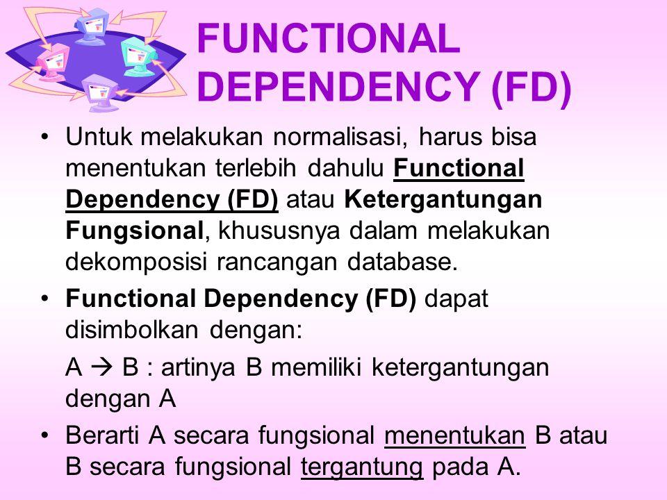 FUNCTIONAL DEPENDENCY (FD) Untuk melakukan normalisasi, harus bisa menentukan terlebih dahulu Functional Dependency (FD) atau Ketergantungan Fungsional, khususnya dalam melakukan dekomposisi rancangan database.