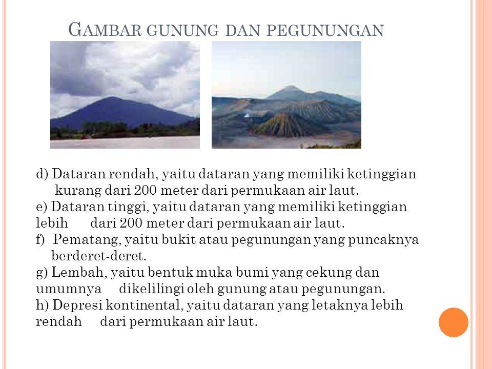 G AMBAR GUNUNG DAN PEGUNUNGAN d) Dataran rendah, yaitu dataran yang memiliki ketinggian kurang dari 200 meter dari permukaan air laut.