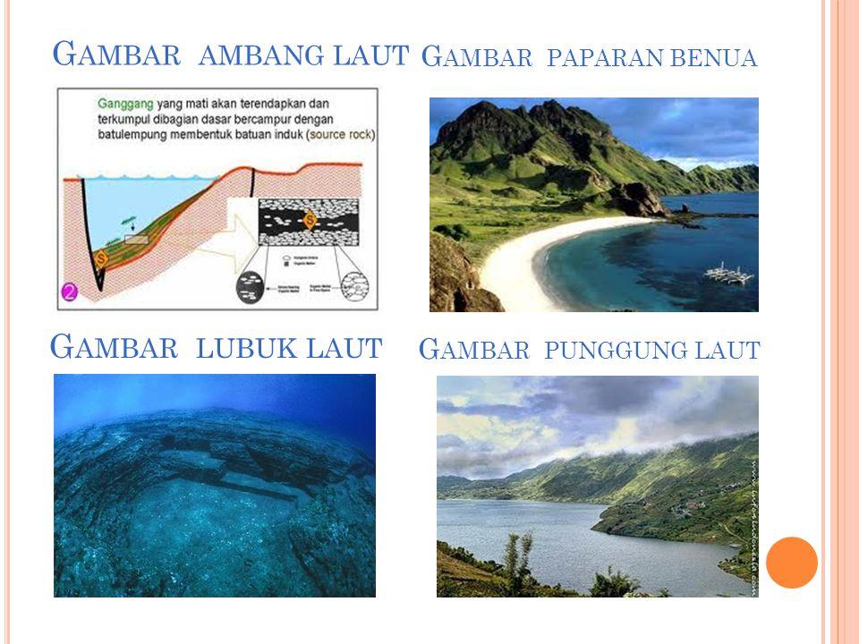 d) Laut dangkal, yaitu laut yang kedalamannya kurang dari 200 m e) Laut dalam, yaitu laut yang kedalamannya lebih dari 200 m f) Paparan benua (shelf), yaitu dasar laut yang melandai ke daratan dengan kedalaman rata-rata 200 m.