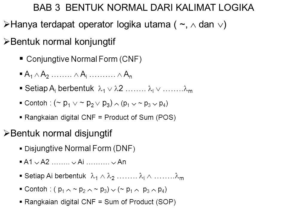  Membuat bentuk CNF dan DNF dari tabel kebenaran  Buat tabel kebenaran dari ekspresi logika yang diberikan  Untuk membuat bentuk DNF cukup ambil nilai-nilai T saja Jika a = T, maka lambang proposisi menjadi a Jika a = F, maka lambang proposisi menjadi ~ a  Untuk membuat bentuk CNF cukup ambil nilai-nilai F saja  Jika a = T, maka lambang proposisi menjadi ~ a  Jika a = F, maka lambang proposisi menjadi a