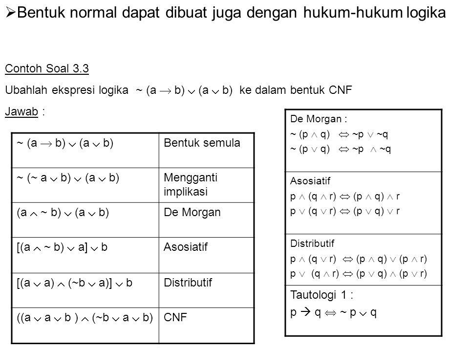 Contoh Soal 3.4 Ubahlah ekspresi logika a  ~ (a  ~ (b  c)) ke dalam bentuk DNF a  ~ (a  ~ (b  c)) Bentuk semula a  ~ (a  (~ b  ~ c)) De Morgan a  (~a  ~(~ b  ~ c)) De Morgan a  (~ a  (b  c)) De Morgan a  (~ a  b  c) Asosiatif a  ~ a  b  c DNF Jawab : De Morgan : ~ (p  q)  ~p  ~q ~ (p  q)  ~p  ~q Asosiatif p  (q  r)  (p  q)  r p  (q  r)  (p  q)  r