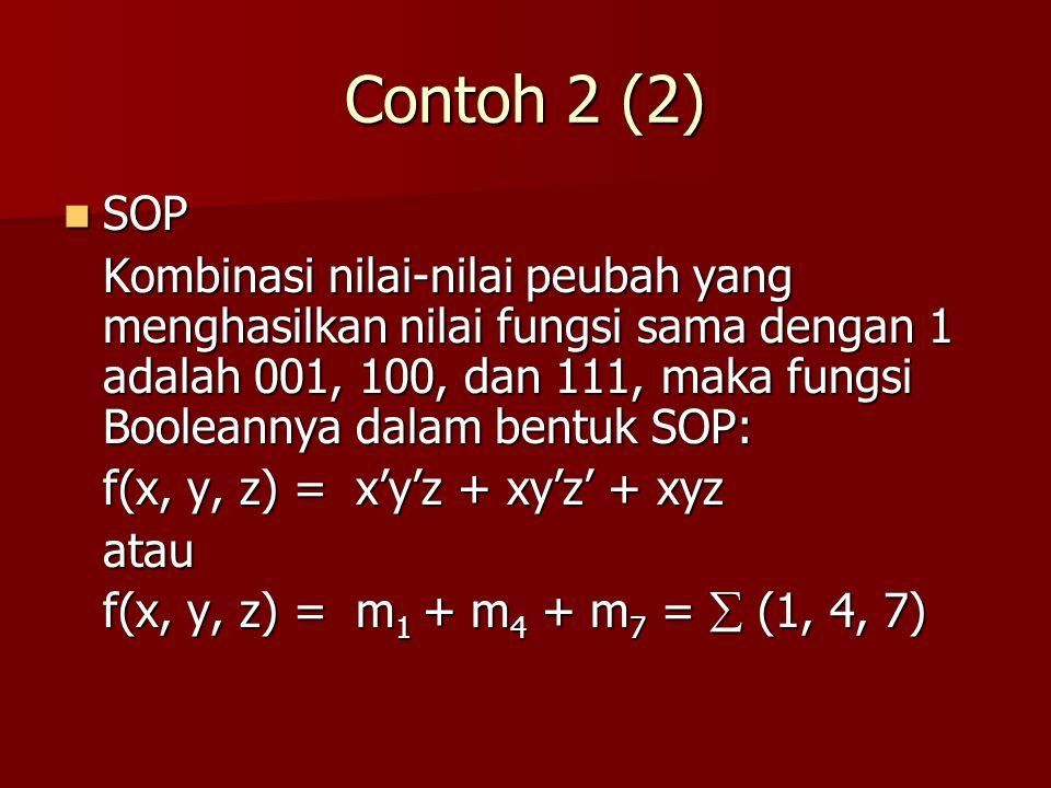 Contoh 2 (2) SOP SOP Kombinasi nilai-nilai peubah yang menghasilkan nilai fungsi sama dengan 1 adalah 001, 100, dan 111, maka fungsi Booleannya dalam bentuk SOP: f(x, y, z) = x'y'z + xy'z' + xyz atau f(x, y, z) = m 1 + m 4 + m 7 =  (1, 4, 7)