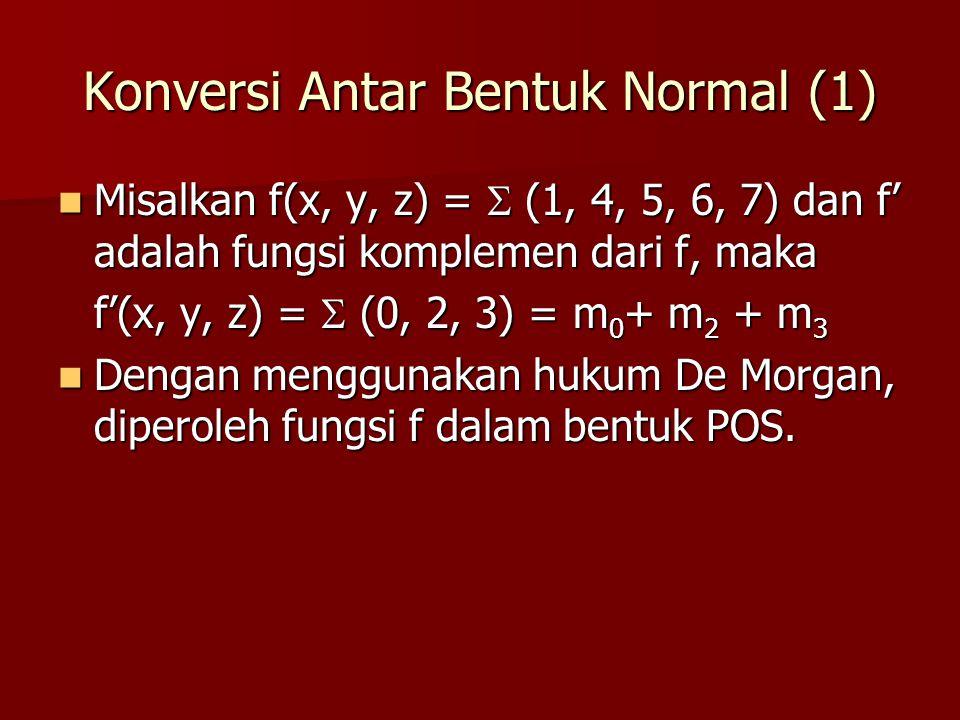 Konversi Antar Bentuk Normal (1) Misalkan f(x, y, z) =  (1, 4, 5, 6, 7) dan f' adalah fungsi komplemen dari f, maka Misalkan f(x, y, z) =  (1, 4, 5, 6, 7) dan f' adalah fungsi komplemen dari f, maka f'(x, y, z) =  (0, 2, 3) = m 0 + m 2 + m 3 Dengan menggunakan hukum De Morgan, diperoleh fungsi f dalam bentuk POS.