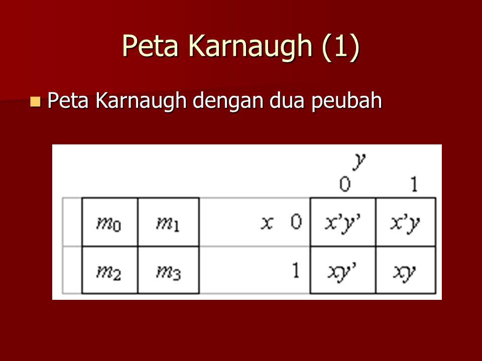 Peta Karnaugh (1) Peta Karnaugh dengan dua peubah Peta Karnaugh dengan dua peubah