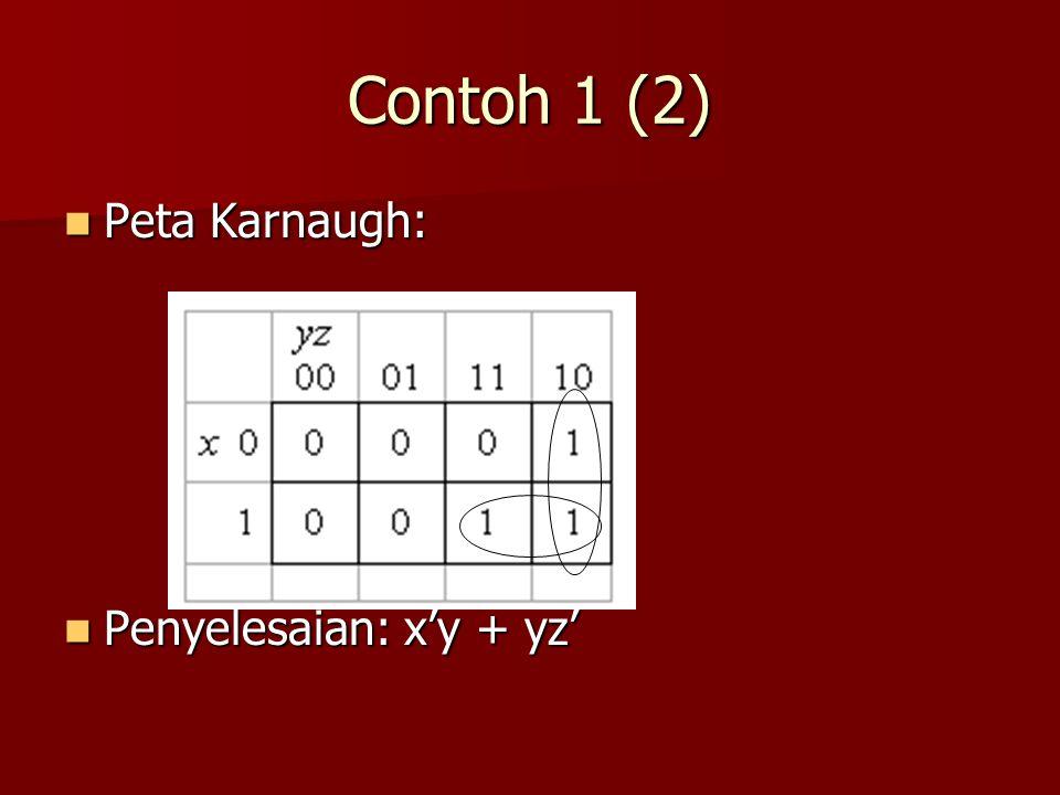 Contoh 1 (2) Peta Karnaugh: Peta Karnaugh: Penyelesaian: x'y + yz' Penyelesaian: x'y + yz'