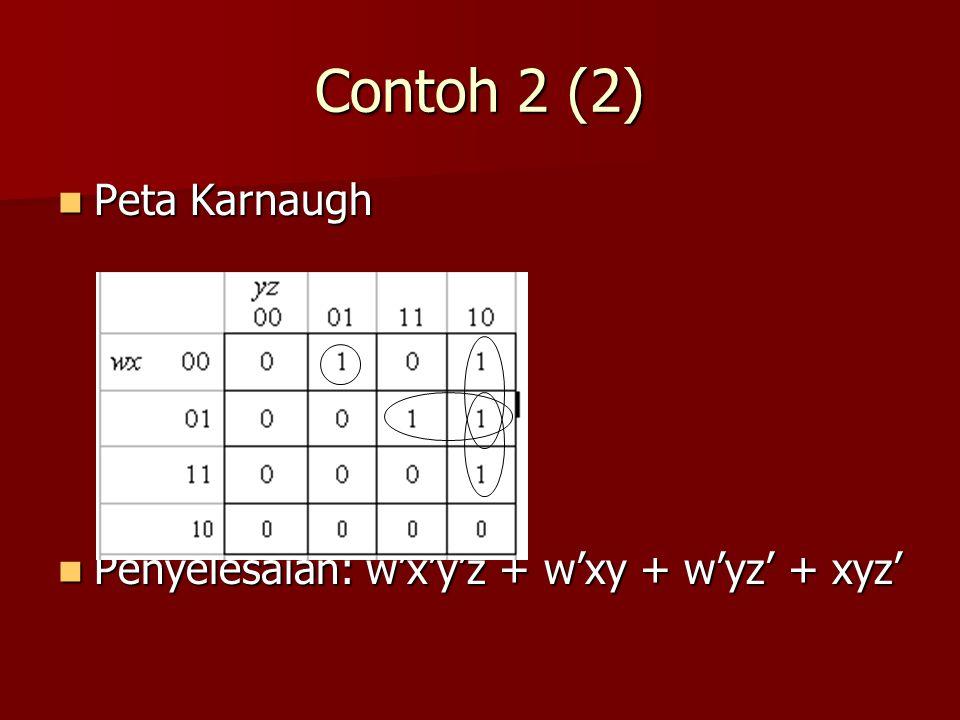 Contoh 2 (2) Peta Karnaugh Peta Karnaugh Penyelesaian: w'x'y'z + w'xy + w'yz' + xyz' Penyelesaian: w'x'y'z + w'xy + w'yz' + xyz'