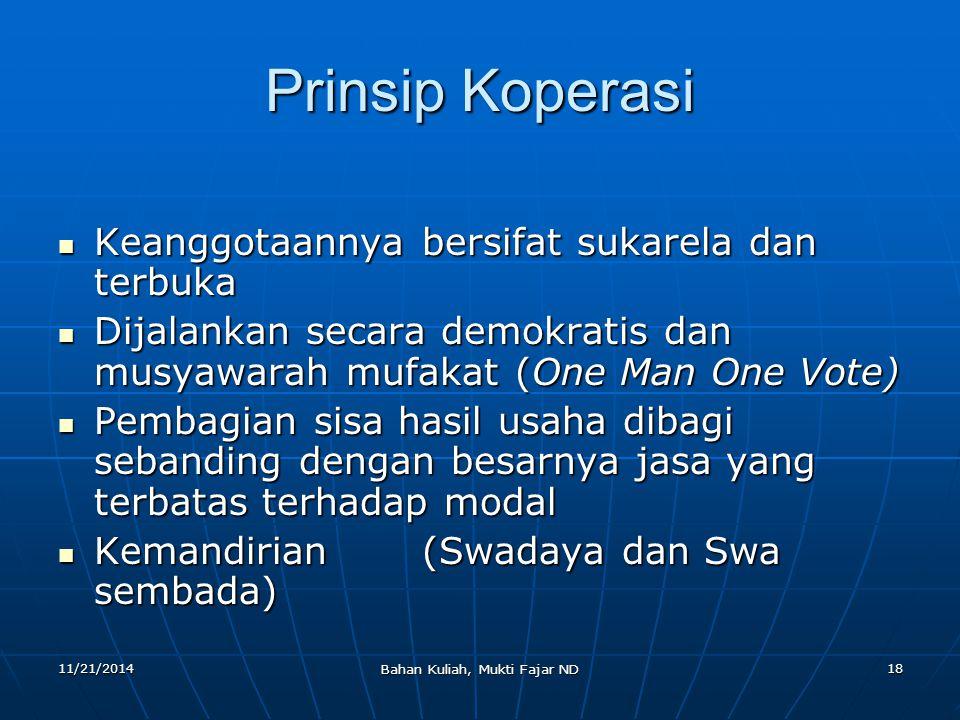 11/21/2014 Bahan Kuliah, Mukti Fajar ND 18 Prinsip Koperasi Keanggotaannya bersifat sukarela dan terbuka Keanggotaannya bersifat sukarela dan terbuka
