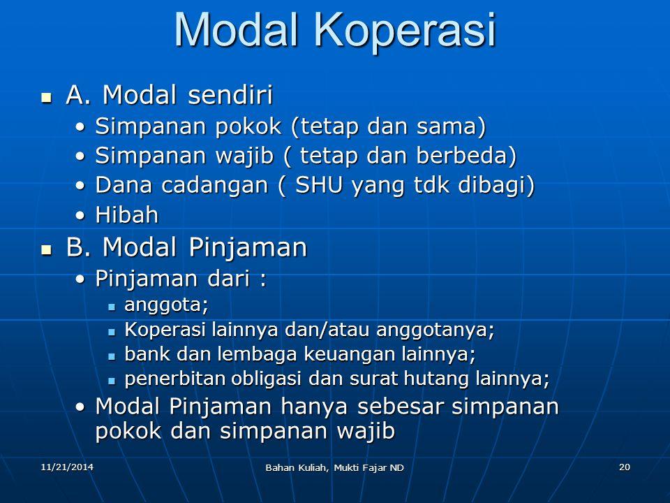 11/21/2014 Bahan Kuliah, Mukti Fajar ND 20 Modal Koperasi A. Modal sendiri A. Modal sendiri Simpanan pokok (tetap dan sama)Simpanan pokok (tetap dan s