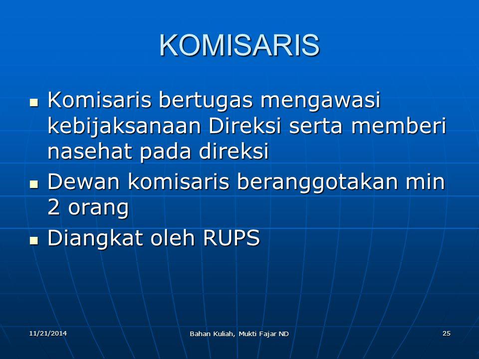 11/21/2014 Bahan Kuliah, Mukti Fajar ND 25 KOMISARIS Komisaris bertugas mengawasi kebijaksanaan Direksi serta memberi nasehat pada direksi Komisaris b