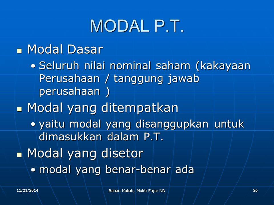 11/21/2014 Bahan Kuliah, Mukti Fajar ND 26 MODAL P.T. Modal Dasar Modal Dasar Seluruh nilai nominal saham (kakayaan Perusahaan / tanggung jawab perusa