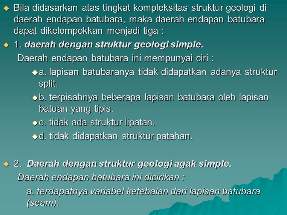  Bila didasarkan atas tingkat kompleksitas struktur geologi di daerah endapan batubara, maka daerah endapan batubara dapat dikelompokkan menjadi tiga