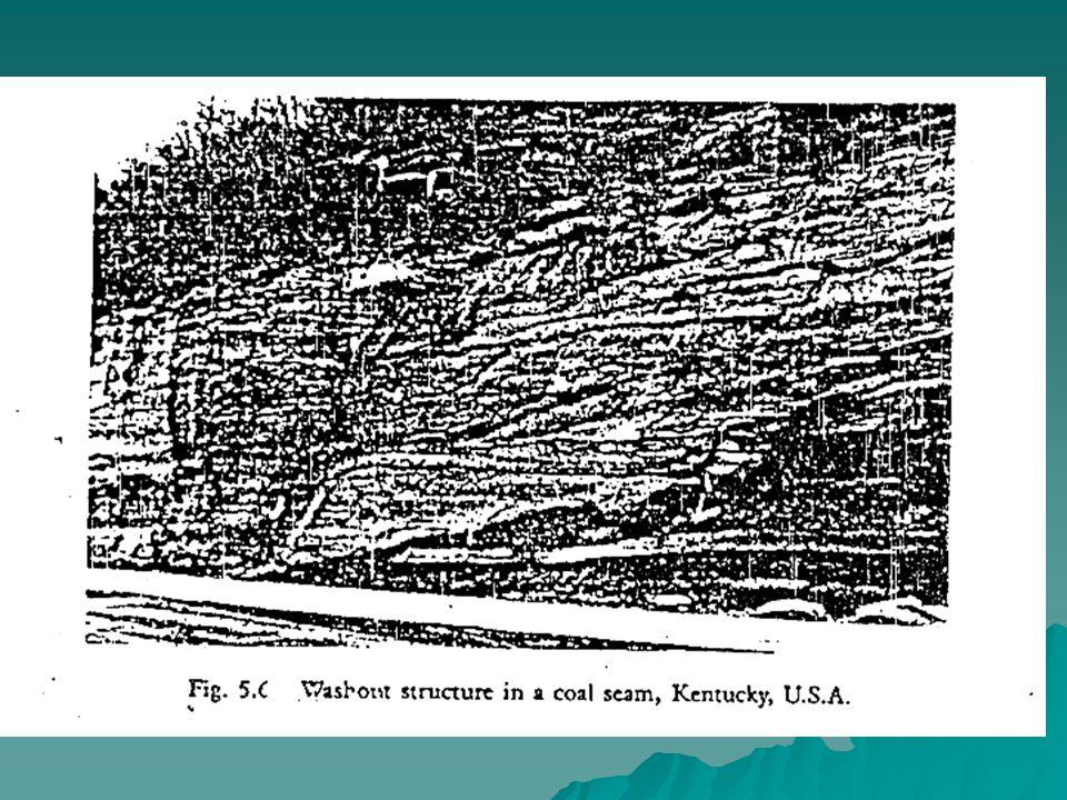  Washout terbentuk karena : –Pemotongan lapisan peat oleh meander sungai.