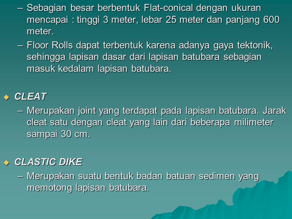 –Sebagian besar berbentuk Flat-conical dengan ukuran mencapai : tinggi 3 meter, lebar 25 meter dan panjang 600 meter. –Floor Rolls dapat terbentuk kar