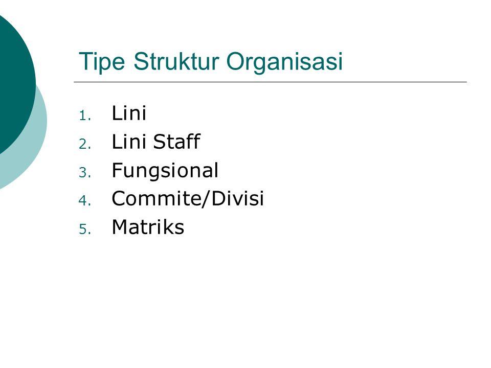 Tipe Struktur Organisasi 1. Lini 2. Lini Staff 3. Fungsional 4. Commite/Divisi 5. Matriks