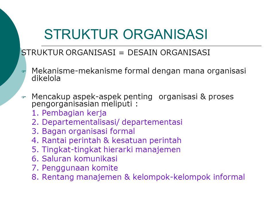STRUKTUR ORGANISASI STRUKTUR ORGANISASI = DESAIN ORGANISASI  Mekanisme-mekanisme formal dengan mana organisasi dikelola  Mencakup aspek-aspek pentin