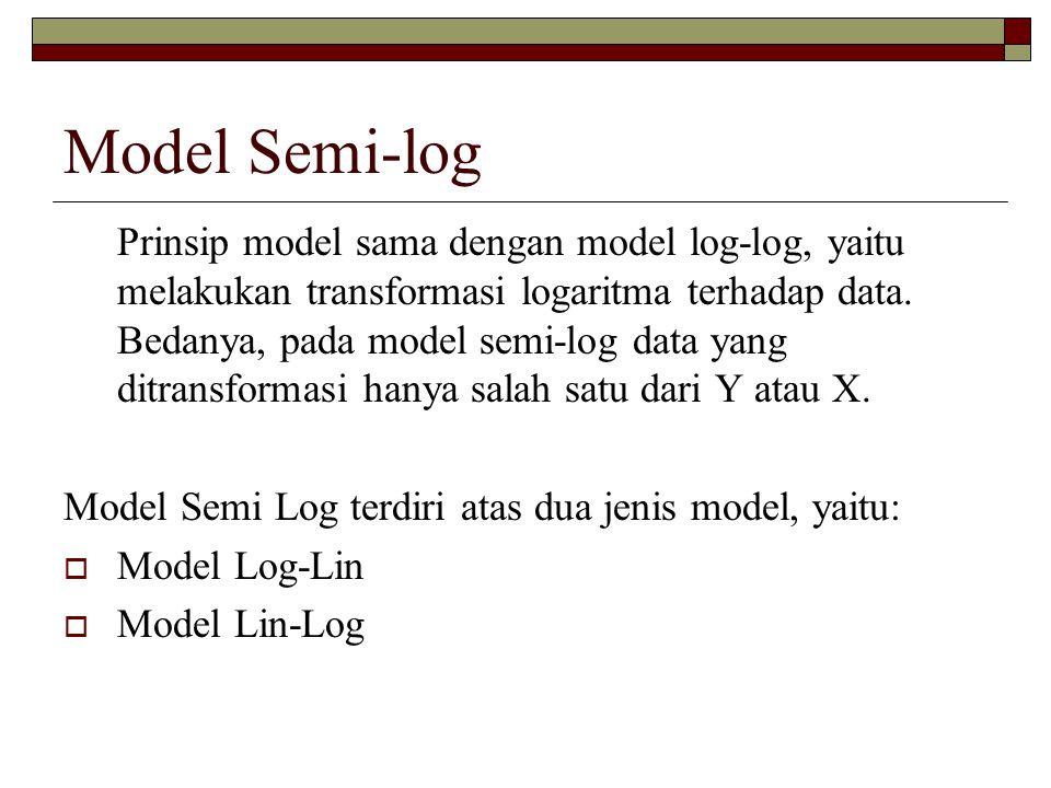 Model Semi-log Prinsip model sama dengan model log-log, yaitu melakukan transformasi logaritma terhadap data. Bedanya, pada model semi-log data yang d