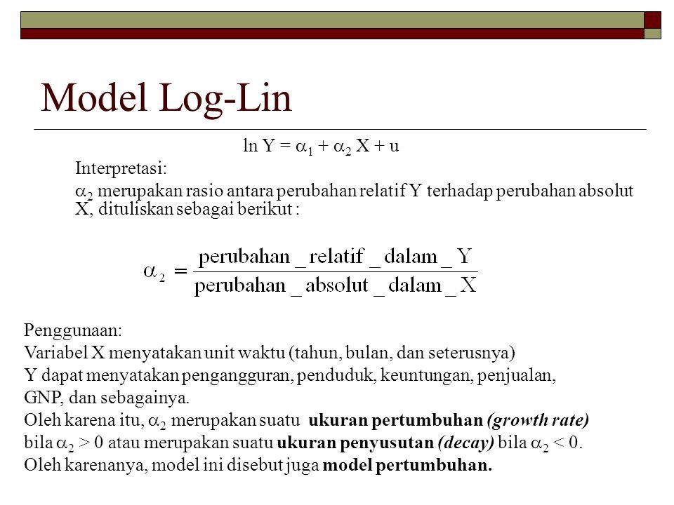 Model Log-Lin ln Y =  1 +  2 X + u Interpretasi:  2 merupakan rasio antara perubahan relatif Y terhadap perubahan absolut X, dituliskan sebagai ber