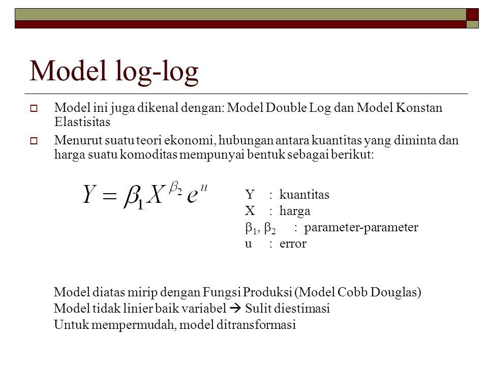 Model log-log  Model ini juga dikenal dengan: Model Double Log dan Model Konstan Elastisitas  Menurut suatu teori ekonomi, hubungan antara kuantitas