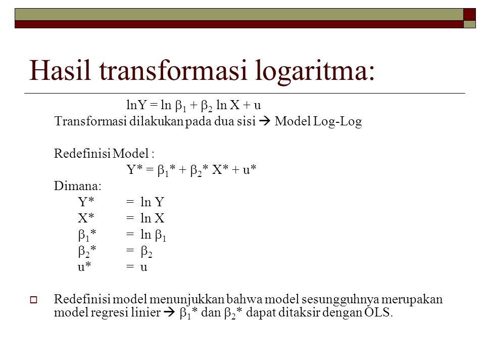 Hasil transformasi logaritma: lnY = ln  1 +  2 ln X + u Transformasi dilakukan pada dua sisi  Model Log-Log Redefinisi Model : Y* =  1 * +  2 * X