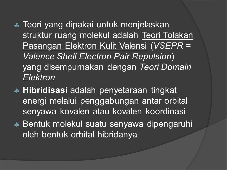  Teori yang dipakai untuk menjelaskan struktur ruang molekul adalah Teori Tolakan Pasangan Elektron Kulit Valensi (VSEPR = Valence Shell Electron Pair Repulsion) yang disempurnakan dengan Teori Domain Elektron  Hibridisasi adalah penyetaraan tingkat energi melalui penggabungan antar orbital senyawa kovalen atau kovalen koordinasi  Bentuk molekul suatu senyawa dipengaruhi oleh bentuk orbital hibridanya
