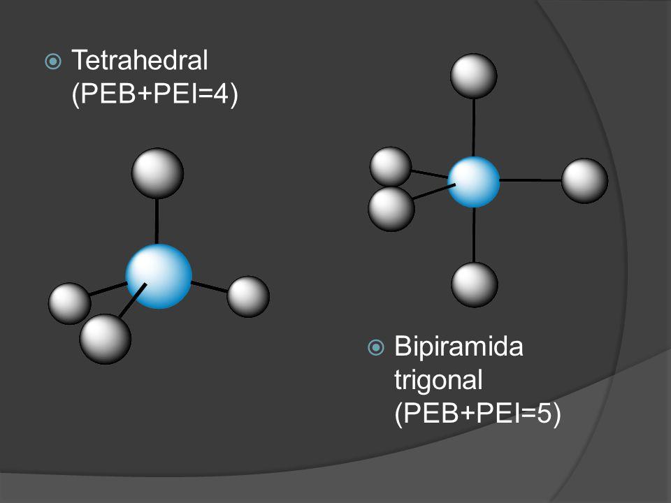  Tetrahedral (PEB+PEI=4)  Bipiramida trigonal (PEB+PEI=5)