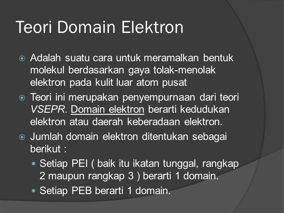 Teori Domain Elektron  Adalah suatu cara untuk meramalkan bentuk molekul berdasarkan gaya tolak-menolak elektron pada kulit luar atom pusat  Teori ini merupakan penyempurnaan dari teori VSEPR.