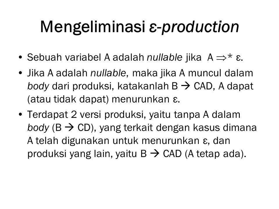Mengeliminasi ε-production Sebuah variabel A adalah nullable jika A  * ε.