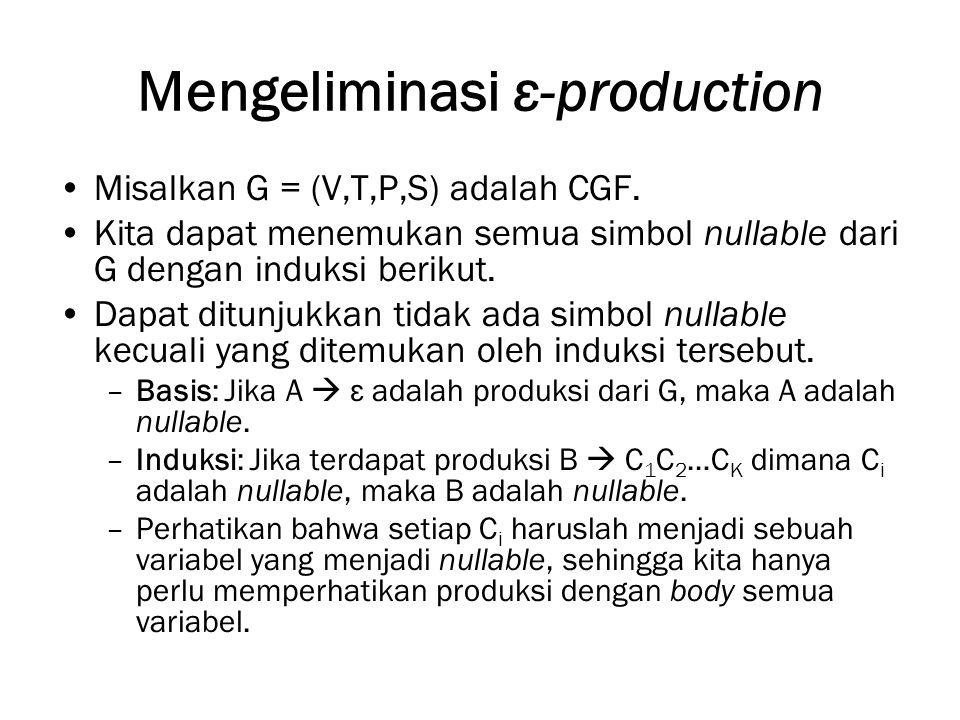 Mengeliminasi ε-production Misalkan G = (V,T,P,S) adalah CGF.