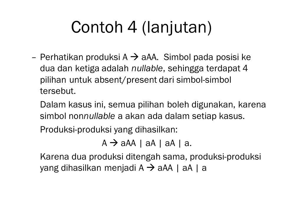 Contoh 4 (lanjutan) –Perhatikan produksi A  aAA.