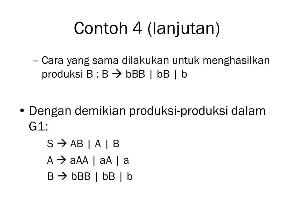 Contoh 4 (lanjutan) –Cara yang sama dilakukan untuk menghasilkan produksi B : B  bBB | bB | b Dengan demikian produksi-produksi dalam G1: S  AB | A | B A  aAA | aA | a B  bBB | bB | b
