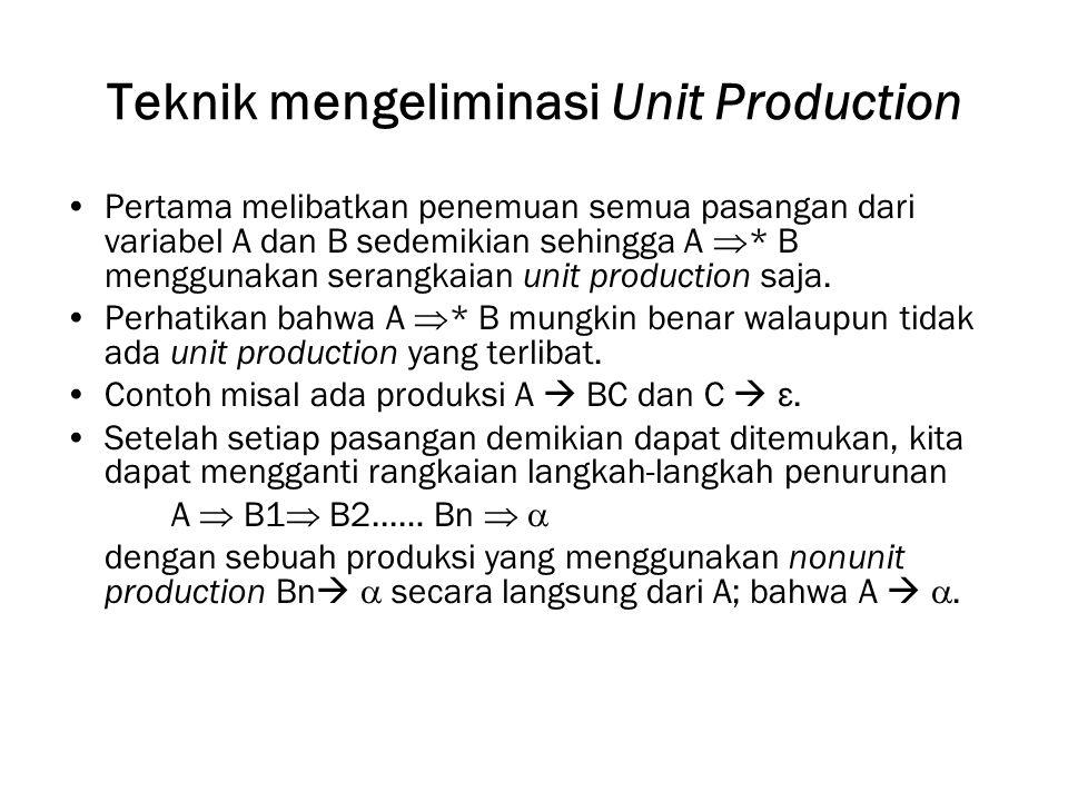 Teknik mengeliminasi Unit Production Pertama melibatkan penemuan semua pasangan dari variabel A dan B sedemikian sehingga A  * B menggunakan serangkaian unit production saja.