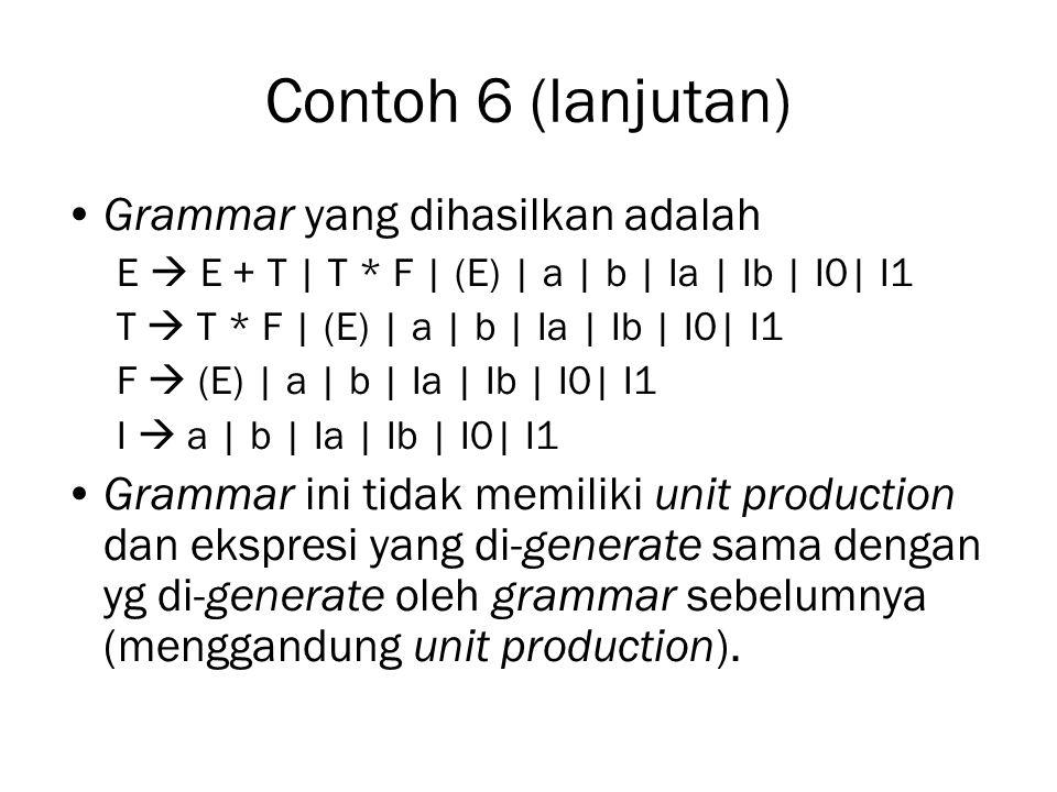Contoh 6 (lanjutan) Grammar yang dihasilkan adalah E  E + T | T * F | (E) | a | b | Ia | Ib | I0| I1 T  T * F | (E) | a | b | Ia | Ib | I0| I1 F  (E) | a | b | Ia | Ib | I0| I1 I  a | b | Ia | Ib | I0| I1 Grammar ini tidak memiliki unit production dan ekspresi yang di-generate sama dengan yg di-generate oleh grammar sebelumnya (menggandung unit production).