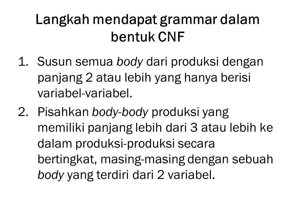 Langkah mendapat grammar dalam bentuk CNF 1.Susun semua body dari produksi dengan panjang 2 atau lebih yang hanya berisi variabel-variabel.