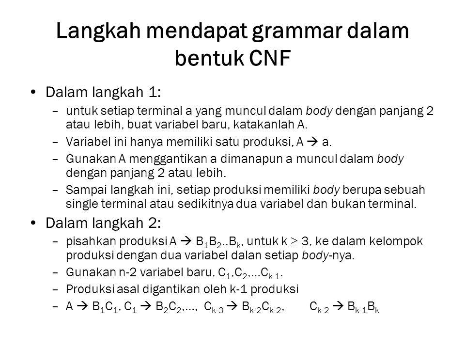 Langkah mendapat grammar dalam bentuk CNF Dalam langkah 1: –untuk setiap terminal a yang muncul dalam body dengan panjang 2 atau lebih, buat variabel baru, katakanlah A.
