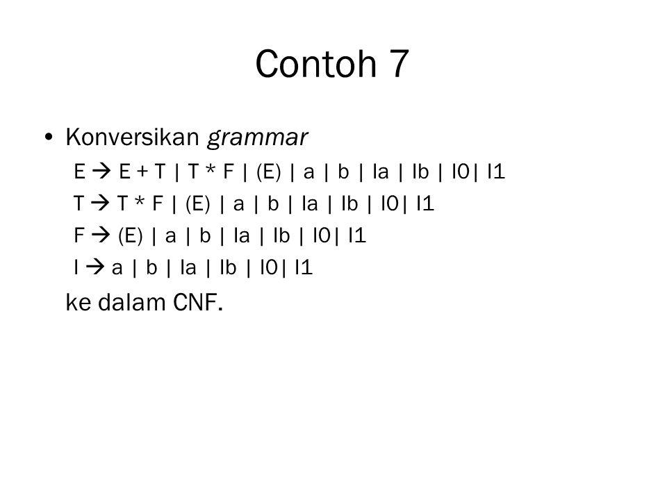 Contoh 7 Konversikan grammar E  E + T | T * F | (E) | a | b | Ia | Ib | I0| I1 T  T * F | (E) | a | b | Ia | Ib | I0| I1 F  (E) | a | b | Ia | Ib | I0| I1 I  a | b | Ia | Ib | I0| I1 ke dalam CNF.