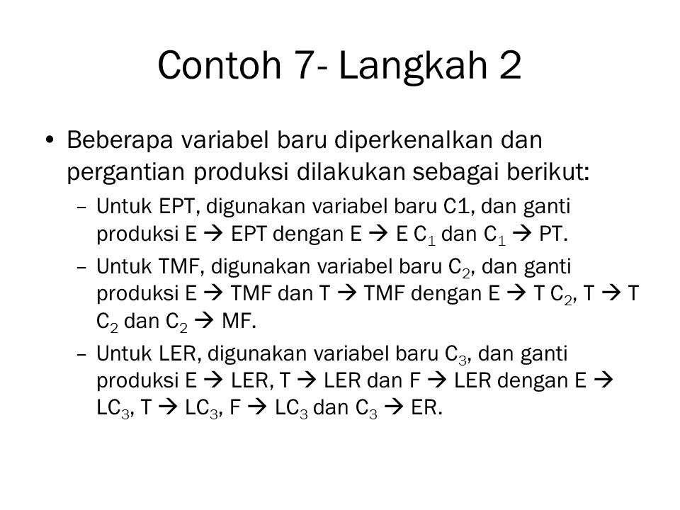 Contoh 7- Langkah 2 Beberapa variabel baru diperkenalkan dan pergantian produksi dilakukan sebagai berikut: –Untuk EPT, digunakan variabel baru C1, dan ganti produksi E  EPT dengan E  E C 1 dan C 1  PT.