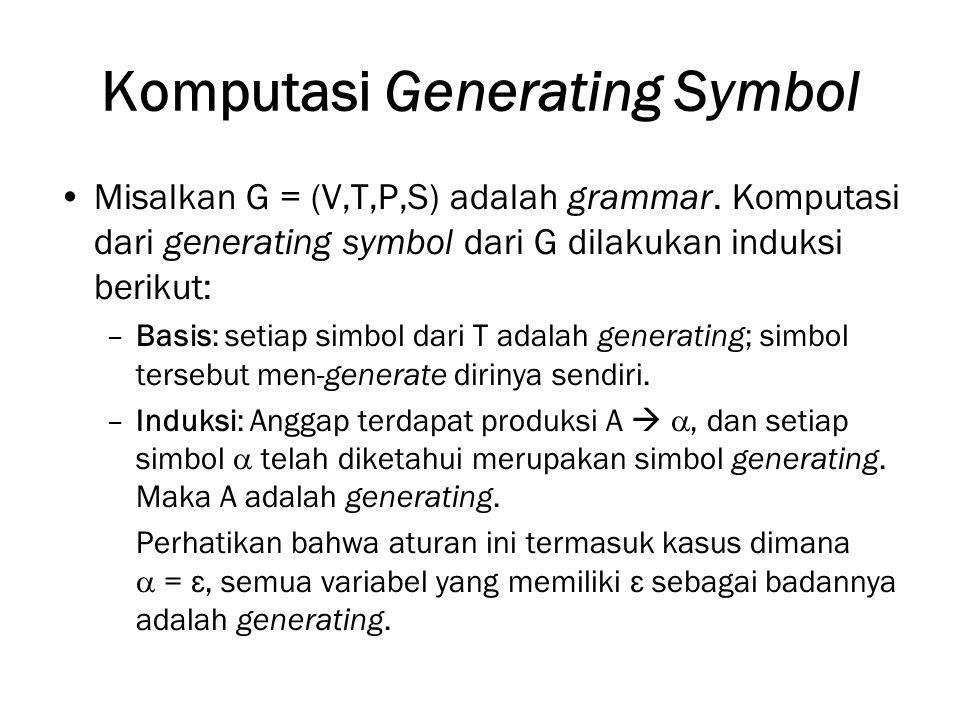 Komputasi Generating Symbol Misalkan G = (V,T,P,S) adalah grammar.
