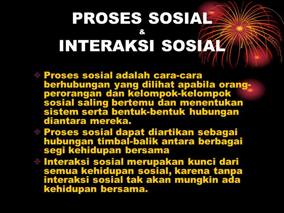 PROSES SOSIAL & INTERAKSI SOSIAL  Proses sosial adalah cara-cara berhubungan yang dilihat apabila orang- perorangan dan kelompok-kelompok sosial sali
